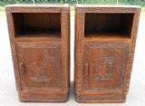 Two Oriental Carved Teak Bedside Cabinets